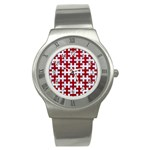 PUZZLE1 WHITE MARBLE & RED LEATHER Stainless Steel Watch Front