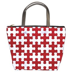 Puzzle1 White Marble & Red Leather Bucket Bags by trendistuff