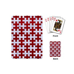 Puzzle1 White Marble & Red Leather Playing Cards (mini)  by trendistuff