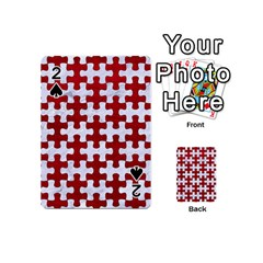 Puzzle1 White Marble & Red Leather Playing Cards 54 (mini)  by trendistuff
