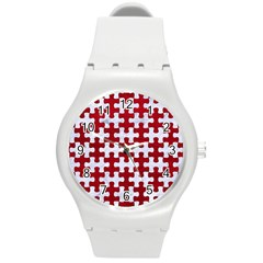 Puzzle1 White Marble & Red Leather Round Plastic Sport Watch (m) by trendistuff