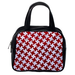 Houndstooth2 White Marble & Red Leather Classic Handbags (one Side)