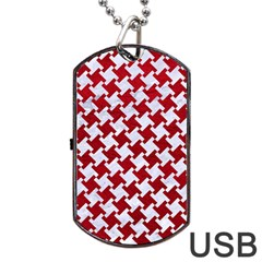Houndstooth2 White Marble & Red Leather Dog Tag Usb Flash (one Side) by trendistuff