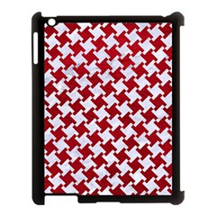 Houndstooth2 White Marble & Red Leather Apple Ipad 3/4 Case (black) by trendistuff