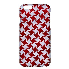 Houndstooth2 White Marble & Red Leather Apple Iphone 6 Plus/6s Plus Hardshell Case by trendistuff