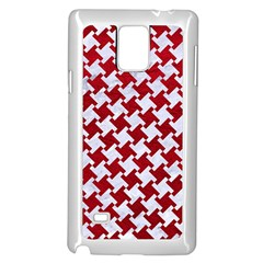 Houndstooth2 White Marble & Red Leather Samsung Galaxy Note 4 Case (white) by trendistuff
