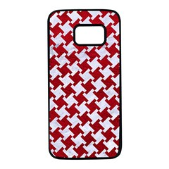 Houndstooth2 White Marble & Red Leather Samsung Galaxy S7 Black Seamless Case by trendistuff