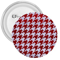 Houndstooth1 White Marble & Red Leather 3  Buttons by trendistuff