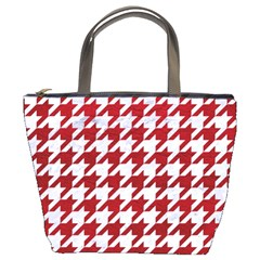 Houndstooth1 White Marble & Red Leather Bucket Bags by trendistuff