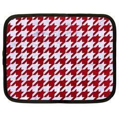 Houndstooth1 White Marble & Red Leather Netbook Case (xxl)  by trendistuff