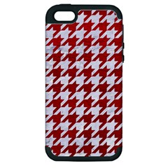 Houndstooth1 White Marble & Red Leather Apple Iphone 5 Hardshell Case (pc+silicone) by trendistuff