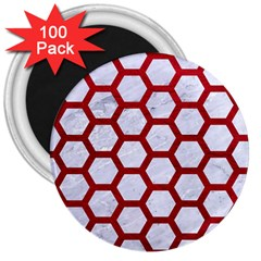 Hexagon2 White Marble & Red Leather (r) 3  Magnets (100 Pack) by trendistuff