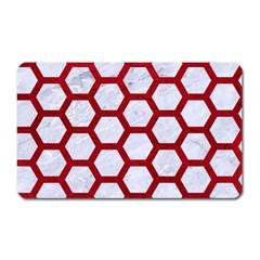 Hexagon2 White Marble & Red Leather (r) Magnet (rectangular) by trendistuff