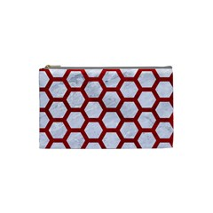 Hexagon2 White Marble & Red Leather (r) Cosmetic Bag (small)