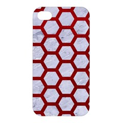 Hexagon2 White Marble & Red Leather (r) Apple Iphone 4/4s Hardshell Case by trendistuff