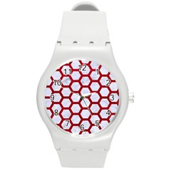 Hexagon2 White Marble & Red Leather (r) Round Plastic Sport Watch (m) by trendistuff