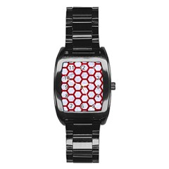 Hexagon2 White Marble & Red Leather (r) Stainless Steel Barrel Watch by trendistuff