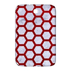 Hexagon2 White Marble & Red Leather (r) Samsung Galaxy Note 8 0 N5100 Hardshell Case  by trendistuff