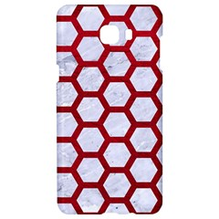 Hexagon2 White Marble & Red Leather (r) Samsung C9 Pro Hardshell Case  by trendistuff