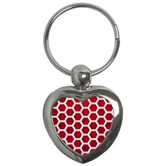 Hexagon2 White Marble & Red Leather Key Chains (heart)  by trendistuff