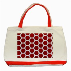 Hexagon2 White Marble & Red Leather Classic Tote Bag (red)