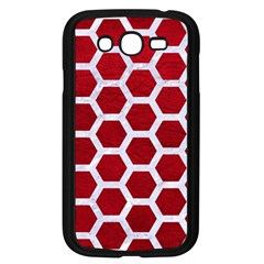 Hexagon2 White Marble & Red Leather Samsung Galaxy Grand Duos I9082 Case (black) by trendistuff