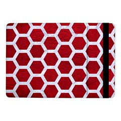 Hexagon2 White Marble & Red Leather Samsung Galaxy Tab Pro 10 1  Flip Case by trendistuff