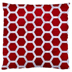 Hexagon2 White Marble & Red Leather Standard Flano Cushion Case (one Side) by trendistuff
