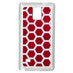 Hexagon2 White Marble & Red Leather Samsung Galaxy Note 4 Case (white)