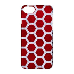 Hexagon2 White Marble & Red Leather Apple Iphone 7 Hardshell Case by trendistuff