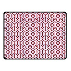Hexagon1 White Marble & Red Leather (r) Double Sided Fleece Blanket (small)  by trendistuff
