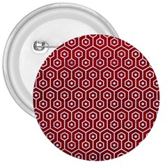 Hexagon1 White Marble & Red Leather 3  Buttons