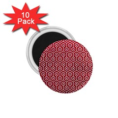 Hexagon1 White Marble & Red Leather 1 75  Magnets (10 Pack)  by trendistuff