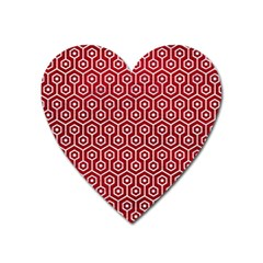 Hexagon1 White Marble & Red Leather Heart Magnet by trendistuff