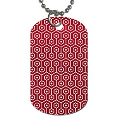Hexagon1 White Marble & Red Leather Dog Tag (two Sides) by trendistuff