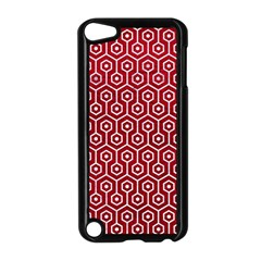 Hexagon1 White Marble & Red Leather Apple Ipod Touch 5 Case (black) by trendistuff