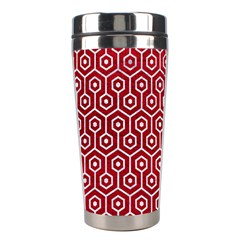 Hexagon1 White Marble & Red Leather Stainless Steel Travel Tumblers by trendistuff