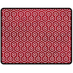 Hexagon1 White Marble & Red Leather Double Sided Fleece Blanket (medium)  by trendistuff