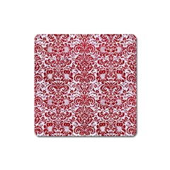 Damask2 White Marble & Red Leather (r) Square Magnet by trendistuff