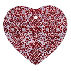 Damask2 White Marble & Red Leather (r) Heart Ornament (two Sides) by trendistuff