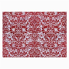 Damask2 White Marble & Red Leather (r) Large Glasses Cloth