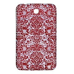 Damask2 White Marble & Red Leather (r) Samsung Galaxy Tab 3 (7 ) P3200 Hardshell Case  by trendistuff