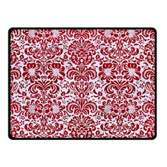 Damask2 White Marble & Red Leather (r) Double Sided Fleece Blanket (small)