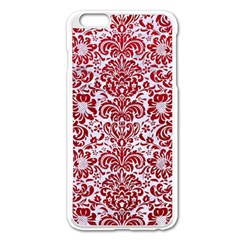 Damask2 White Marble & Red Leather (r) Apple Iphone 6 Plus/6s Plus Enamel White Case by trendistuff