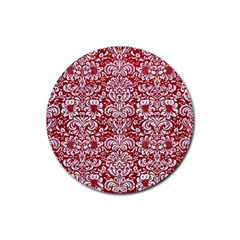 Damask2 White Marble & Red Leather Rubber Round Coaster (4 Pack)  by trendistuff