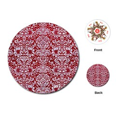 Damask2 White Marble & Red Leather Playing Cards (round)  by trendistuff