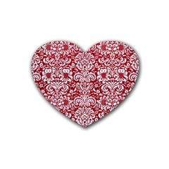 Damask2 White Marble & Red Leather Rubber Coaster (heart)  by trendistuff