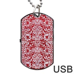 Damask2 White Marble & Red Leather Dog Tag Usb Flash (two Sides) by trendistuff