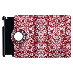 Damask2 White Marble & Red Leather Apple Ipad 3/4 Flip 360 Case by trendistuff