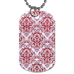Damask1 White Marble & Red Leather (r) Dog Tag (one Side)